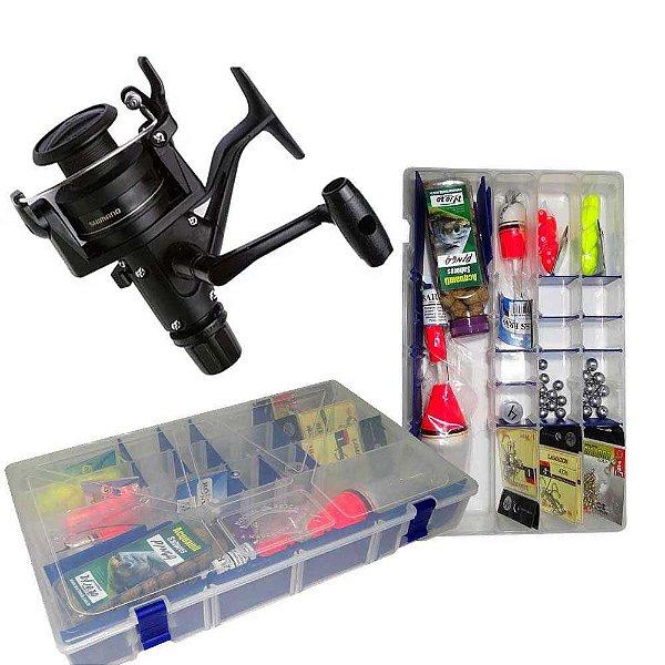 Molinete Shimano IX 2000 + Kit Super Pesca - Estojo Linhas Anzóis e Acessórios