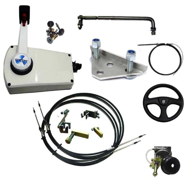 Kit de adaptação motor Mercury 25/30 HP manual para comando a distancia + Kit direção 12