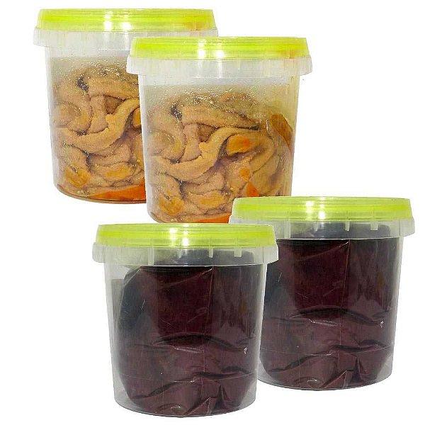 Kit 4 Tripa de Galinha em conserva 100g natural e c/ sangue