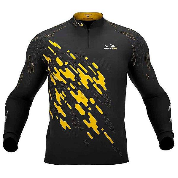 Camiseta de Pesca Presa Viva Tucunaré Amarelo 01 - G