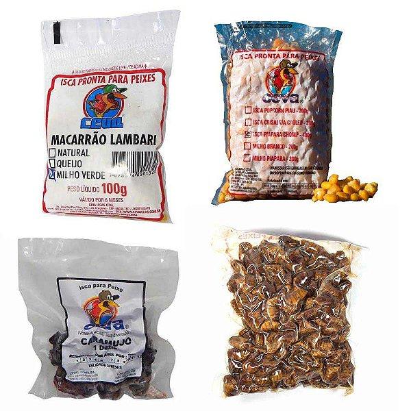 Kit iscas Piapara e Pacu: Caramujo descascado em conserva + Crisalidas (Bicho da seda) + Isca Milho Cozido + Macarrão Piapara