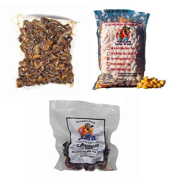 Kit de iscas para Piapara e Pacu: Caramujo descascado em conserva  + Crisalidas (Bicho da seda) com óleo + Milho Cozido 400g