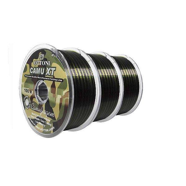 Kit 3 Linhas Monofilamento Camu XT 0,30, 0,35, 0,40mm c/ 100m cada