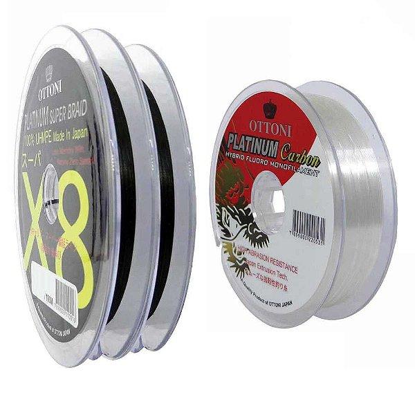 200m Linha Multifilamento Platinum X8 0,24mm 40lb/18.2kg + Linha Platinum Fluorcarbon Leader 0,35mm 100m