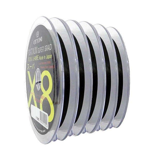 500m Linha Multifilamento Platinum X8 0,18mm 30lb/13.7kg - Verde - Carretéis de 100m contínuos