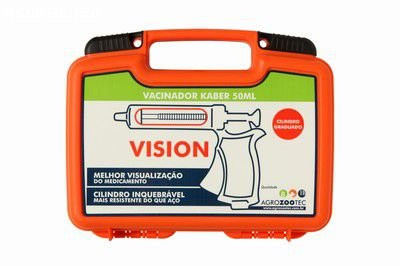 Vacinador bovino autom Kaber vision cabo fechado 50 ml - cx plástica laranja, vaselina, vedações