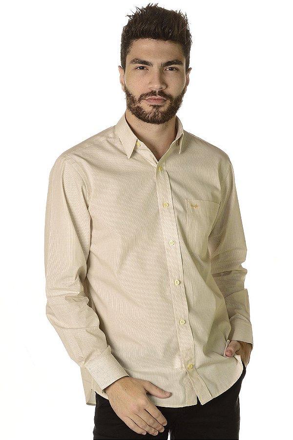 Camisa Listrada   Manga Longa Tradicional - 100% Algodão  Fio 60