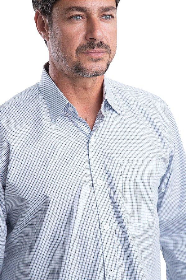 Camisa Xadrez – 100% algodão – fio egípcio (branca/azul)