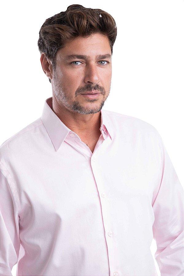 Camisa Listrada – 100% Algodão -  Fio 80 (Rosa/Discreto Branca)