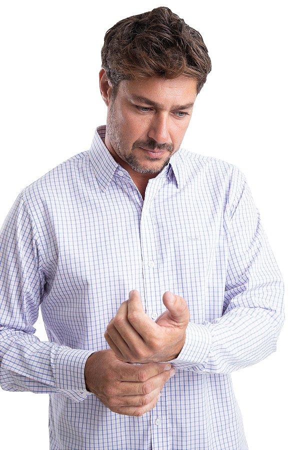 Camisa Xadrez - 100% Algodão Fio 60 – (Rosa/Branco/Azul)