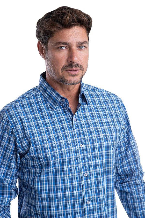 Camisa Xadrez – 100% algodão – fio 70 (azul/branca)