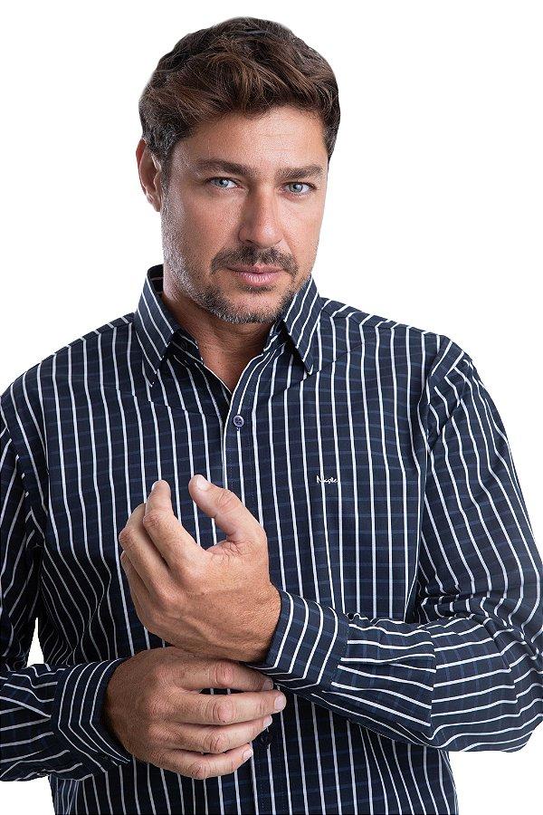 Camisa Xadrez – 100% algodão – fio 70 (preta/branca)