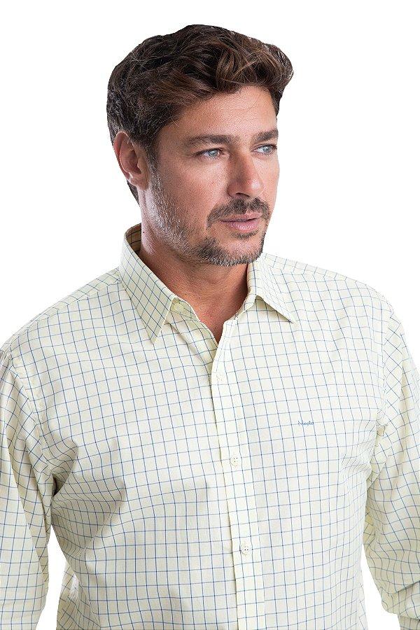 Camisa Xadrez – 100% algodão – fio egípcio  (amarela/azul)
