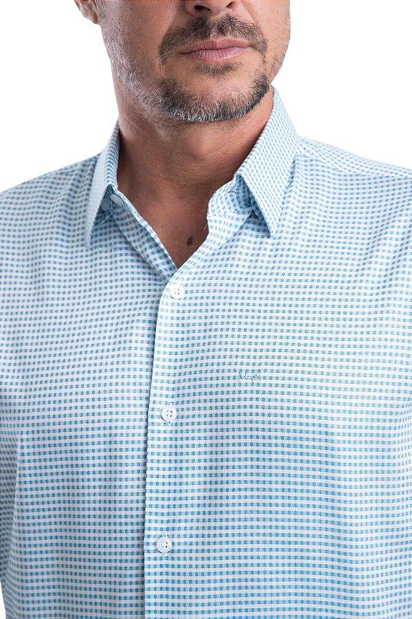 Camisa Acetinada em Xadrez – 100% algodão – fio 60 (azul/branca)