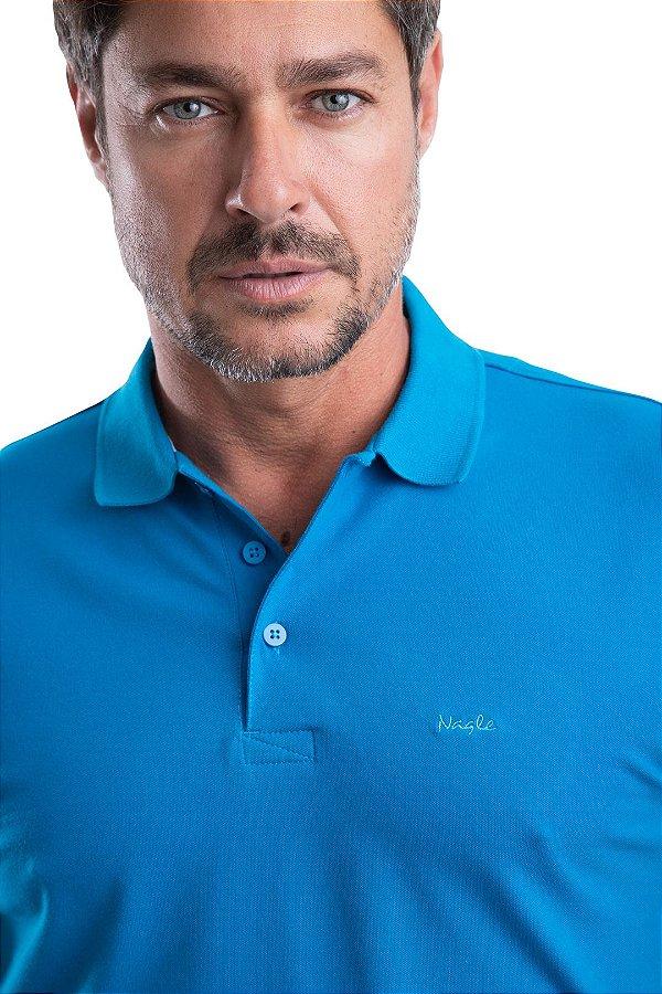 Gola Polo –Piquet Liso 96% algodão  4% Elastano - (cor azul sideral)
