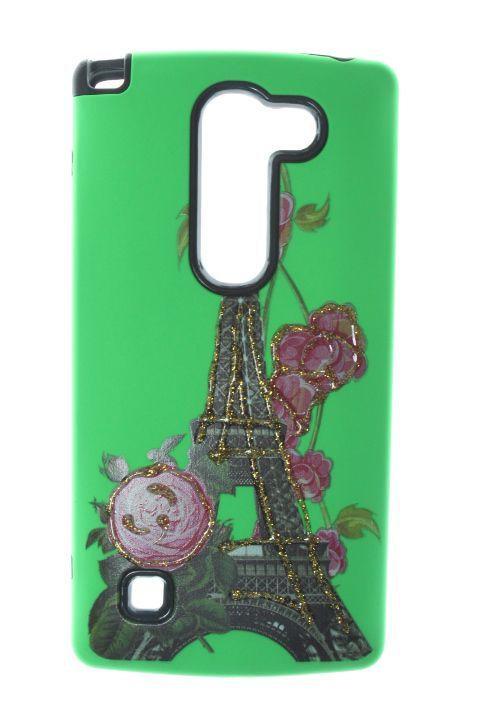 Capas para Celular LG Leon H326T Anti Impacto Cor Verde Estampa Torre de Paris