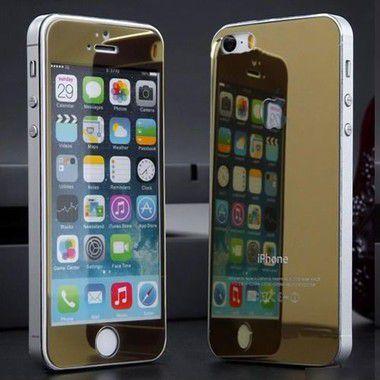 Película de Vidro Espelhada Frente e Verso Cores Sortidas para Linha Apple iPhone