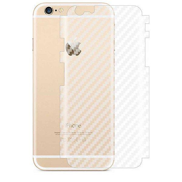 Adesivo Protetor Traseiro Skin Fibra de Carbono Transparente para Celular Linha Apple Iphones