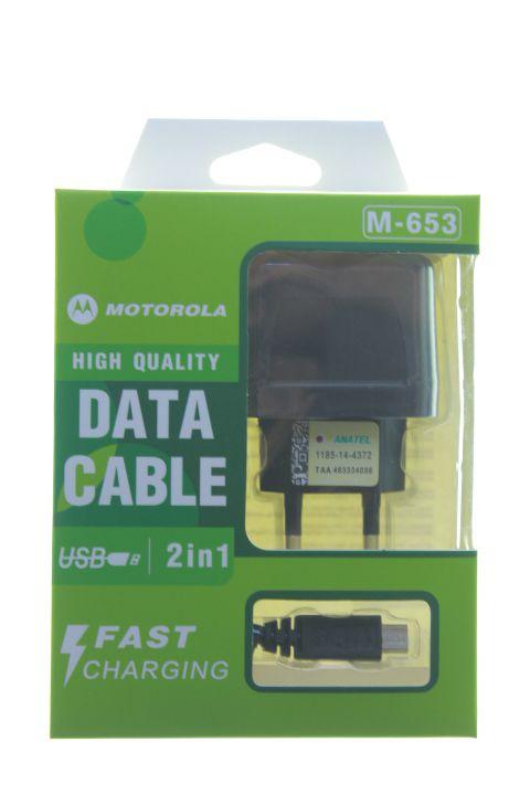 Carregador Com Cabo USb-V8 1ª Linha Motorola na Caixa