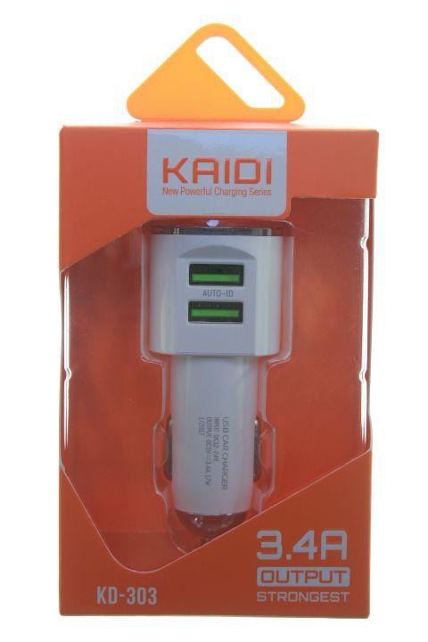 Carregador Veícular Kaidi 2 Usb 3.4 Amperes Modelo KD-303