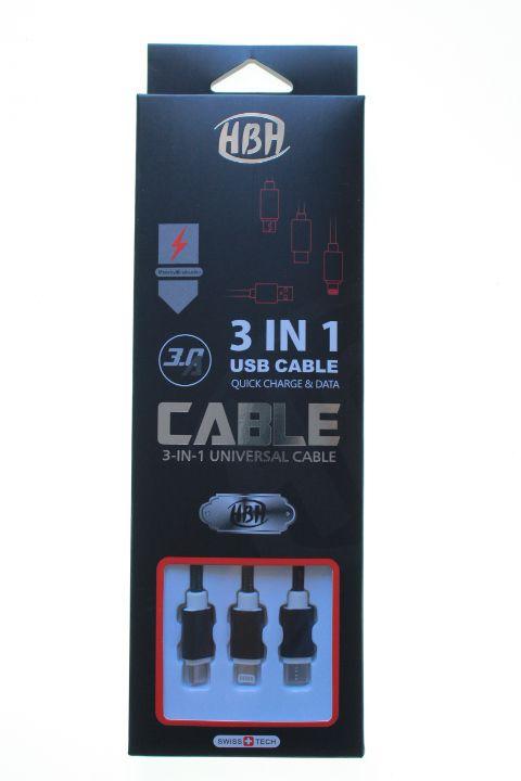 Cabo de Dados USB 3 em 1 V8-iPhone-Tipo C