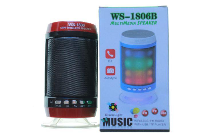 Mini Caixa de Som Led Speaker WS-1806 Portátil Cor Sortida