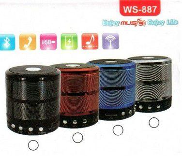 Mini Caixa de Som Speaker WS-887 Bluetooth-Rádio FM-Pen drive-Cartão de Memória Cores Sortidas