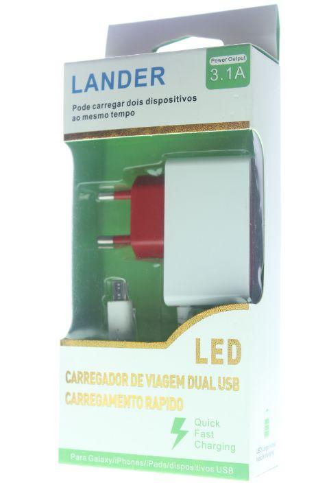Carregador Lander 3.1A USB-V8 Micro USB