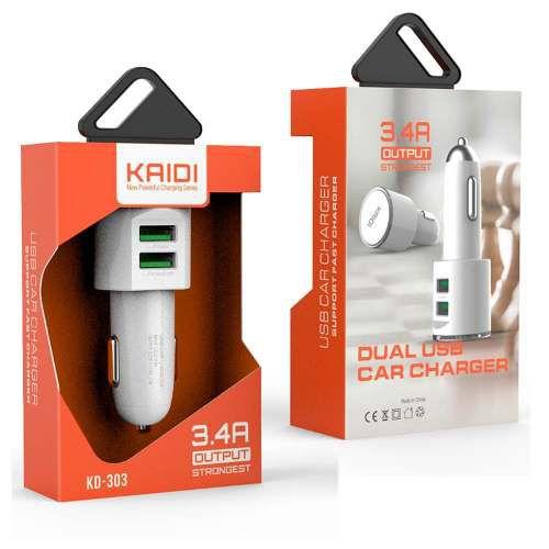 Carregador Veícular Dois USB 3.4A KAIDI KD-303