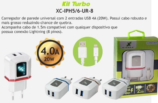 Carregador de iPhone Marca X-CELL Ultra Rápido
