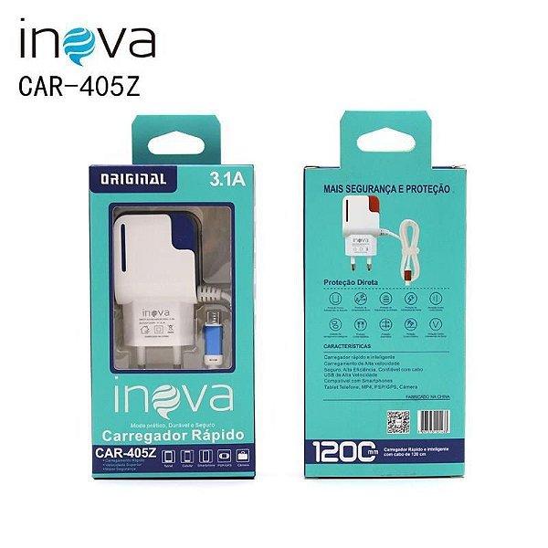 Carregador INOVA 3.1A para Celular V8 - Micro USB Referência Car-405Z