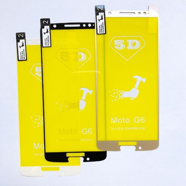 Película Flexível Especial Gel Silicone 5D Borda Dourada para Celular