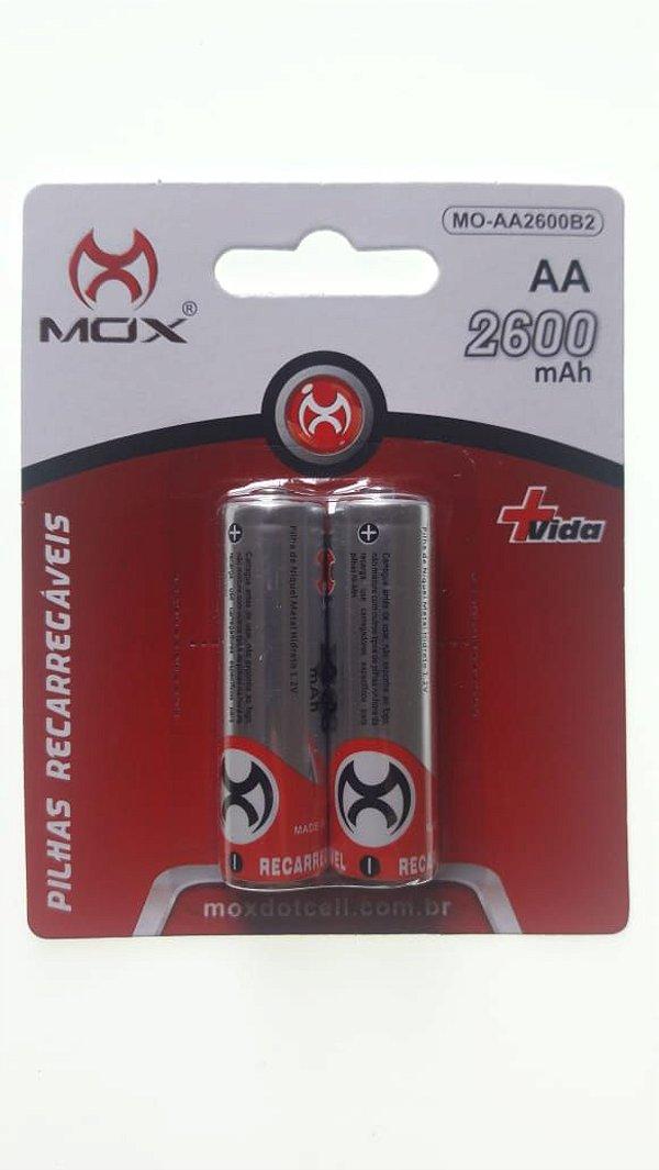 Pilha Recarregável AA 2600 mAh Mox Dotcell Cartela com Duas Unidades