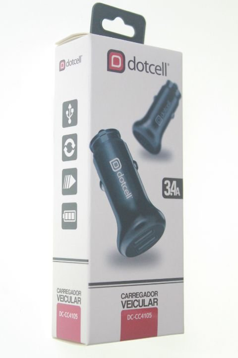 Carregador Veicular Dotcell DC-CC4105 - 3.4A  - 2 USB - Preto