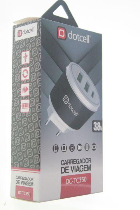 Carregador Viagem Dotcell DC-TC350 3.8A -  2 USB e 1 Type-C - Preto
