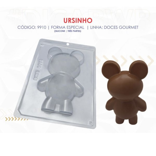 1 Forma De Silicone Urso Grande Bwb Cod. 9910