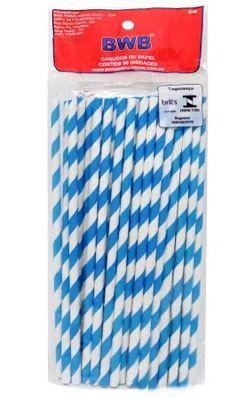 Canudo de Papel Listrado Azul Com 50 un Bwb