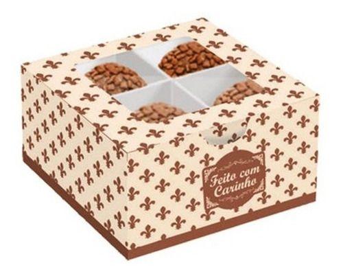 Caixa Gourmet P/4 Doces Marfim E Chocolates Pacote C/ 10