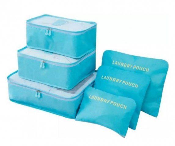 Kit Organizador de Mala 6 peças - Azul Claro
