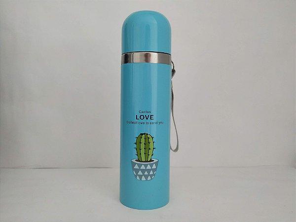 Garrafa Térmica Quente e Frio 500ML Cactus Love Azul