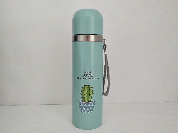 Garrafa Térmica Quente e Frio 500ML Cactus Love Verde