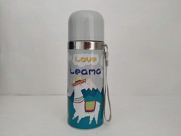 Garrafa Térmica Quente e Frio 350ML Lhama Azul