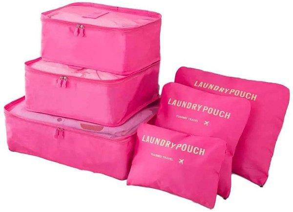 Kit Organizador de Mala 6 peças - Rosa Pink