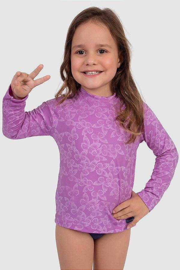 Blusa Manga Longa Infantil Feminina Proteção Solar UV50+  Lilás