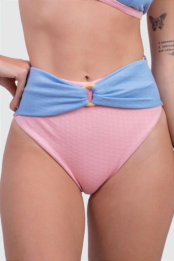 Biquíni Feminino Calcinha Hot Pant Argola Rosa + Azul