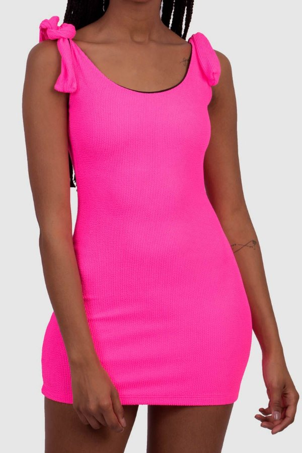 Vestido Firenzi Feminino Rosa Neon