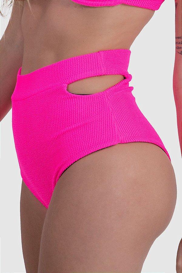 Biquíni calcinha cintura Alta Firenzi Rosa Neon