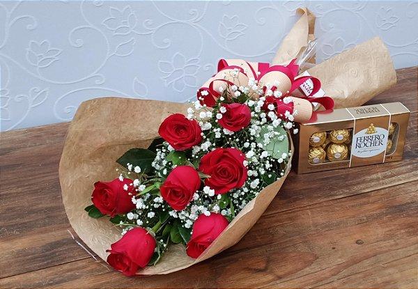 Ramalhete de 7 Rosas Com Ferrero