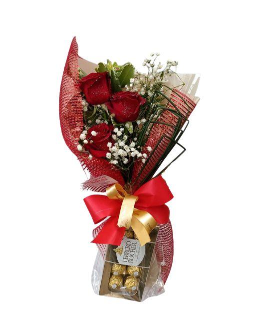 Ramalhete de 3 Rosas e Ferrero