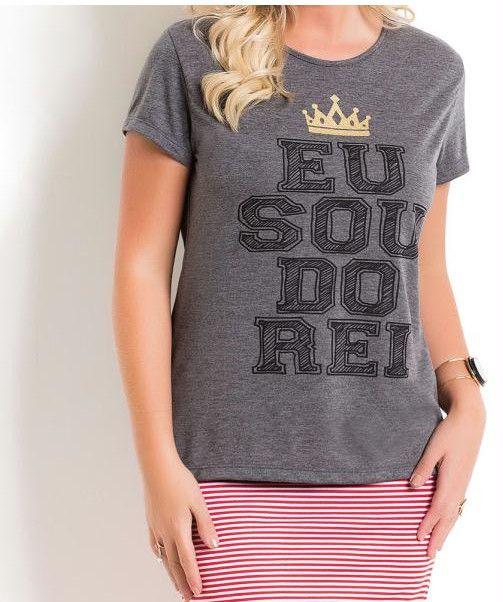 T Shirt com Estampa Frontal Mescla